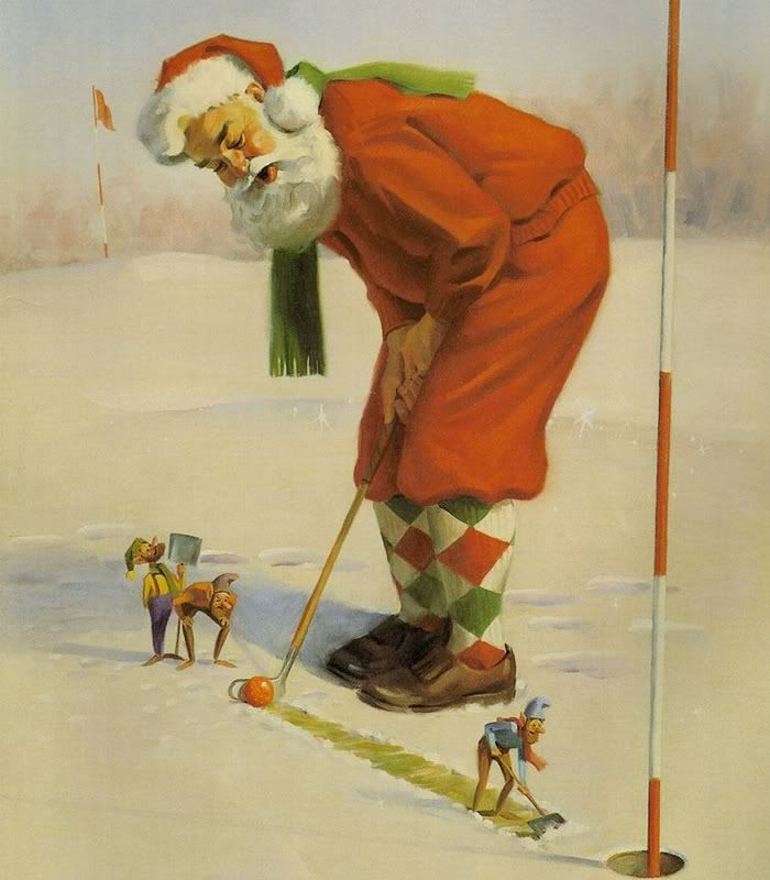 Would so love to find this print to go with all the golf santas in out powder room for Christmas!!!