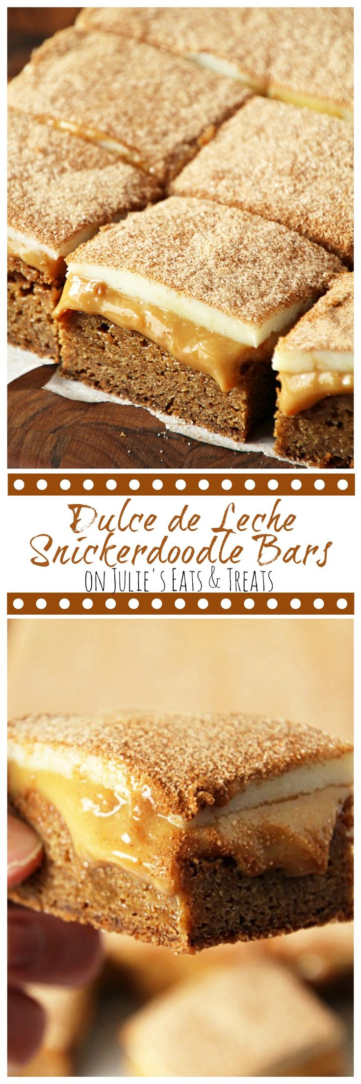 Dulce de Leche Snickerdoodle Bars ~ Chewy Snickerdoodle Crust topped with a Layer of Dulce de Leche and then White Chocolate and Cinnamon Sugar! ~ http://www.julieseatsandtreats.com
