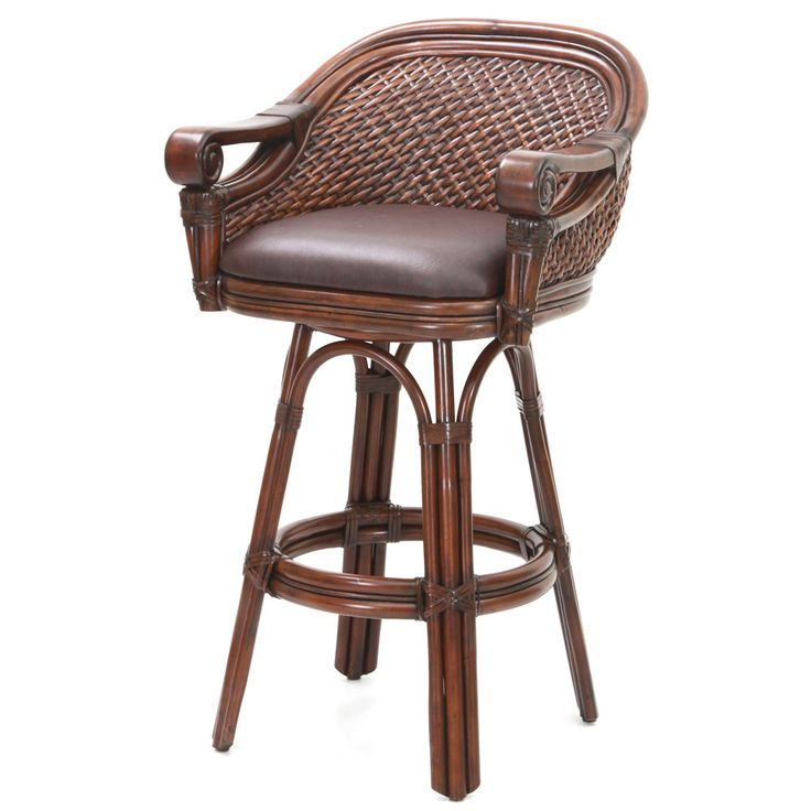 Relish In The Relaxation And Comfort Of The Tropical Styled Lucia Swivel Counter  Stool. Finished