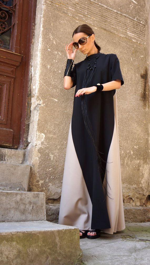 New Collection XXLXXXL Maxi Dress / Black and Ivory by Aakasha