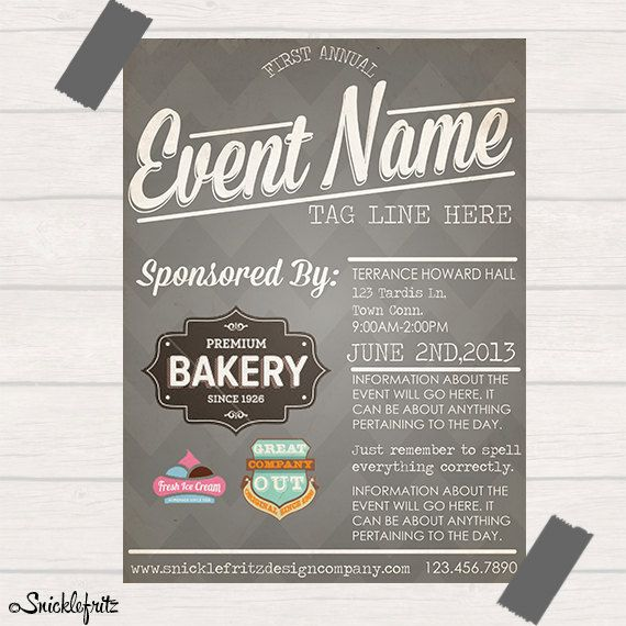 simple grey event flyerpersonalized by snicklefritzdesignco 15 00