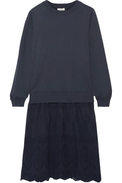 CLU - Mix Media Broderie Anglaise-paneled Cotton-jersey Dress - Navy - x small