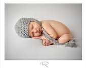 Sleeping owl hat, newborn for baby boy, crochet, knit, grey 100% wool, extra soft, infant Shower gift, or Photography prop, 0-3 months. $25,00, via Etsy.