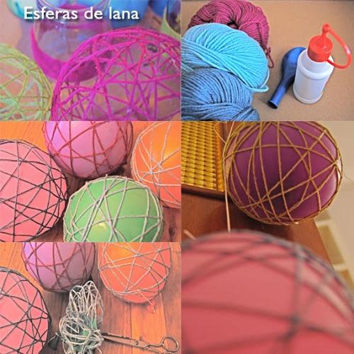 esferas de lana, que lindas. tambien con hilo quedan muy bien como lamparas