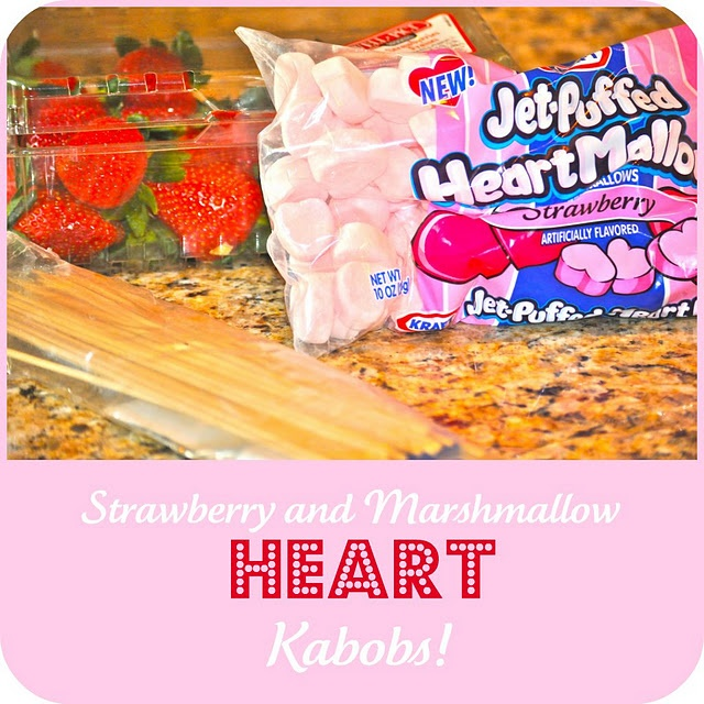 Strawberry and Marshmallow Heart Kabobs; this will be a perfect craft/snack for Alexander's class