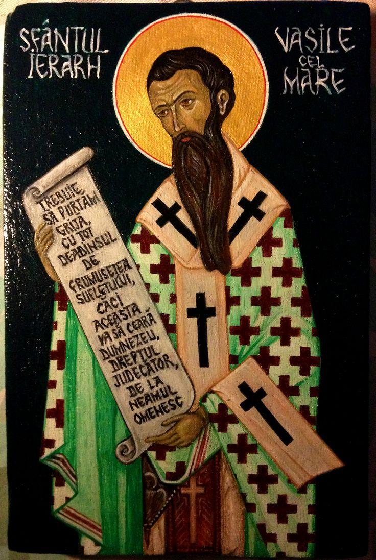 https://flic.kr/p/EvXj5h | Sfantul Ierarh Vasile cel Mare | tempera pe panza lipita pe lemn