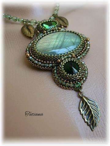 """Кулон """"Этюд в осенних тонах""""Bead embroidery necklace"""
