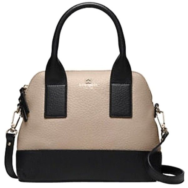 Pre-owned Kate Spade Nude And Black Cross Body Bag (£115) ❤ liked on Polyvore featuring bags, handbags, shoulder bags, nude and black, black leather crossbody, leather shoulder bag, leather crossbody purse, black crossbody purse and black crossbody