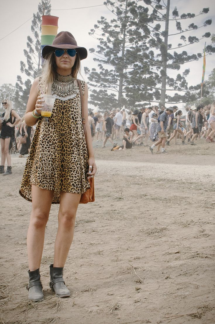 Leopard print, comfy ankle boots, wide brim & ethnic sterling. Rad outfit spotted at the Byron Falls Fest.