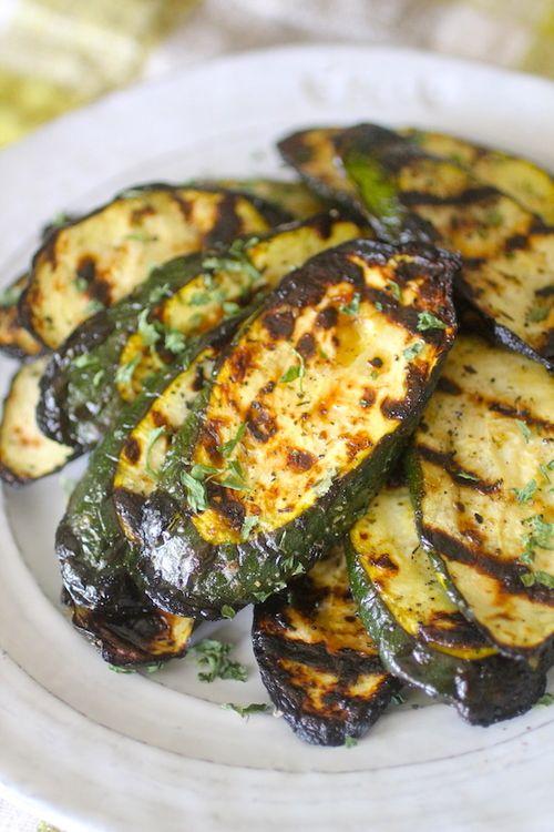 Lemon Garlic Grilled Zucchini - zucchini, dried Italian seasoning/dried basil + oregano, minced garlic,dried garlic, salt, pepper, lemon juice, olive oil (optional)