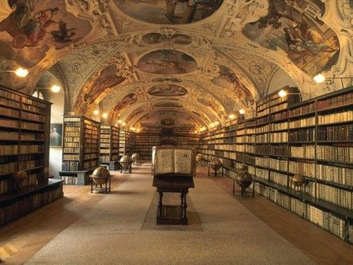 Theological Library, Prague, Czech Republic  DREAM VACA pt. II Heavenly firmament: A baroque ceiling of religious frescoes and elaborate stucco work celebrates the world of religion in the Theological Library at Prague's Strahov Monastery.