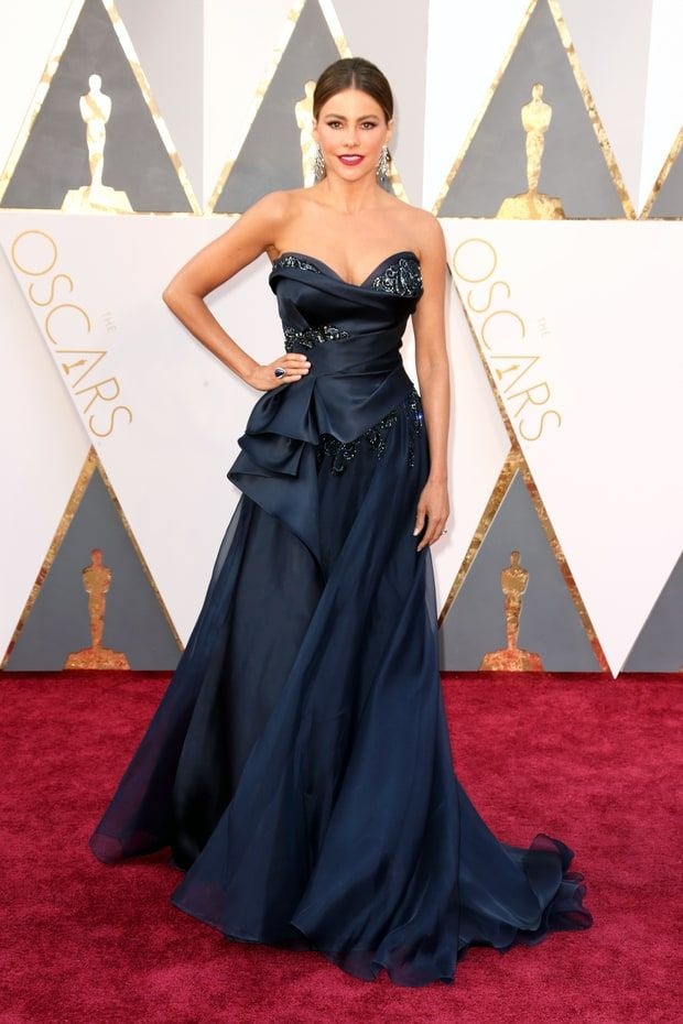 Sofía Vergara Princess moment! The Oscars 2016 presenter and Modern Family actress made heads turn in a navy blue embellished gown by Marchesa.