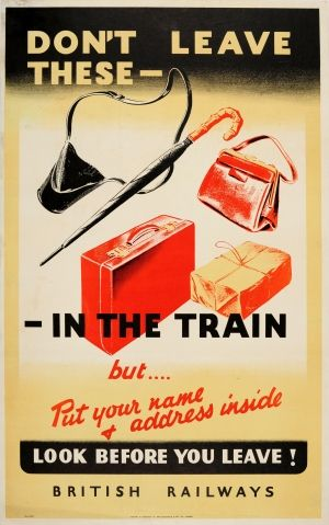 Don't Leave These In The Train British Railways 1940s - original vintage poster listed on AntikBar.co.uk