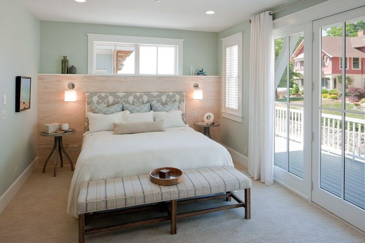 Ledge lighting bedroom beach style with end of bed bench wood paneling side tables