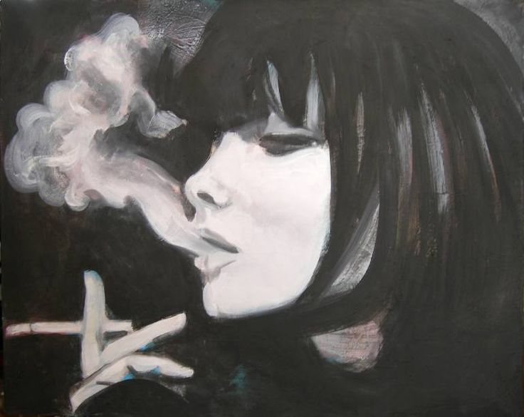 "Saatchi Art Artist Emil Valev; Painting, ""girl smoking"" #art                                                                                                                                                                                 More"