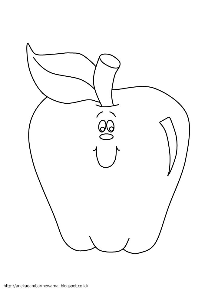 Aneka Gambar Mewarnai - Gambar Mewarnai Buah Apel Untuk Anak PAUD dan TK.   Pelajaran menggambar dan...