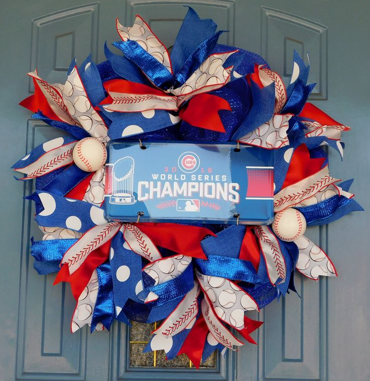 World Series Champions 2016 Chicago Cubs License Plate on a Royal Blue Deco Mesh Wreath with Baseball Ribbons, Front Door Wreath, Cubs Fan by TwoRoadsDivergedShop on Etsy