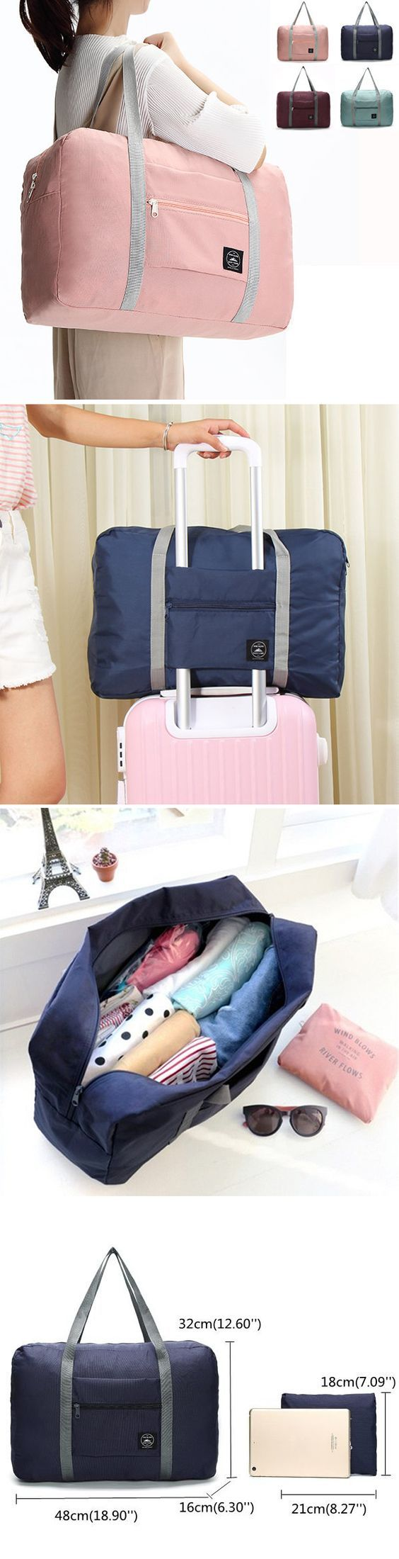 US$9.99 Women Men Folding Waterproof Luggage Bags Unisex Fitness Bag Outdoor Travel Bags
