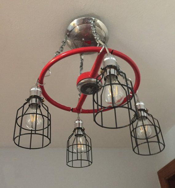 Vintage Ford parts chandelier Red 1949 steering by AnywhoOldtoNew