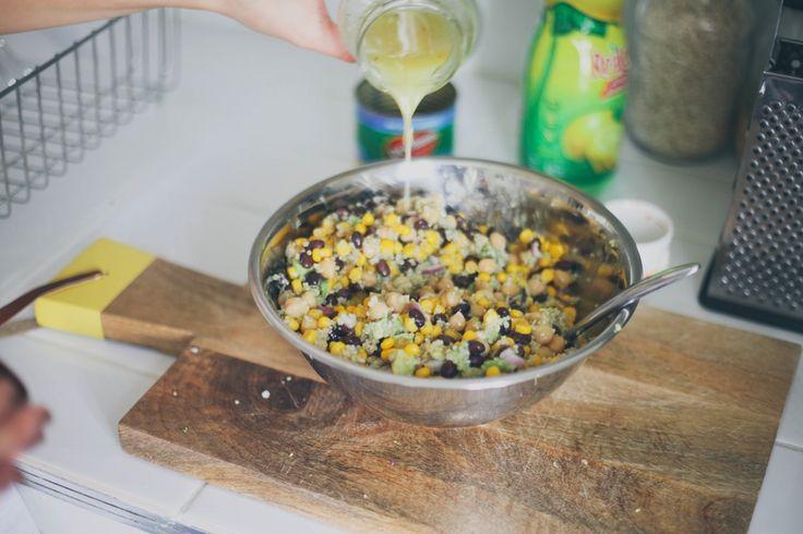 Corn, Black Bean, Avacado, Shrimp, Quinoa, Red Onion & Lemon Dressing // treasuresandtravelsblog.com