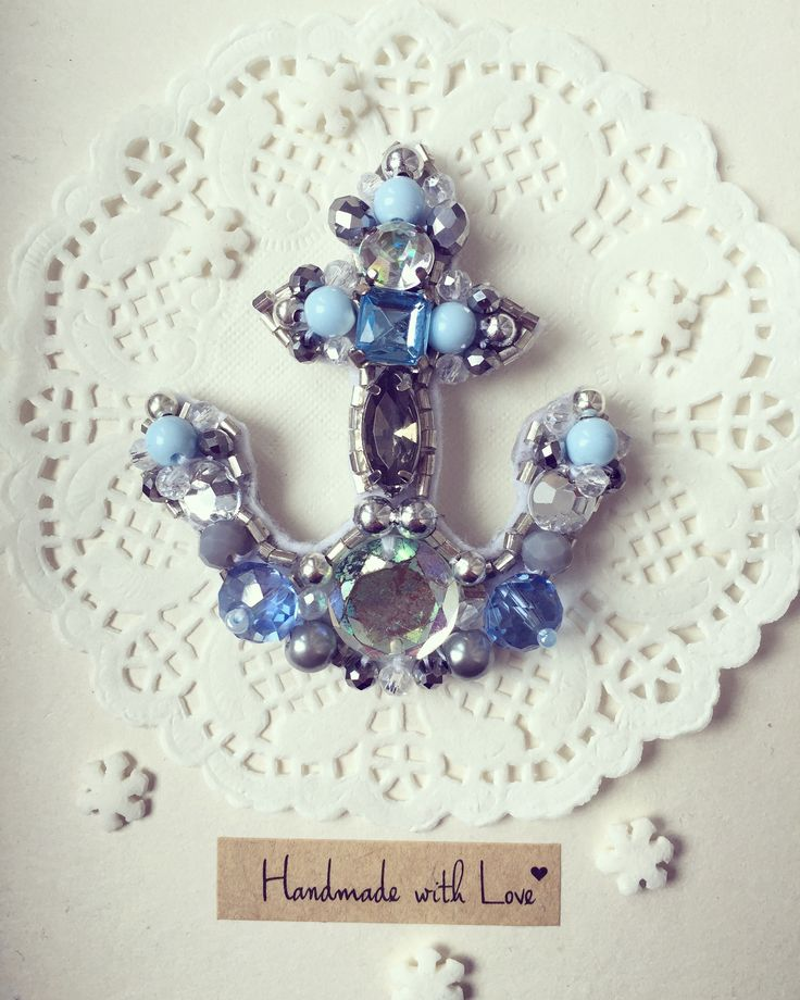 Handmade beaded anchor brooch