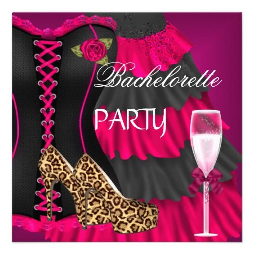 bachelorette party corset black pink dress shoes invite - Cheap Bachelorette Party Invitations