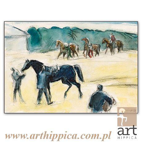 Horse - Painting - Holler Josef | PRZED STARTEM 3 |  A painting by Josef Holler. Signature: Josef Holler; Technique: watercolor; Dimensions: 36,5 x 25,5 cm; Exhibitions: Czech Parliament, Millennium gallery – Prague.