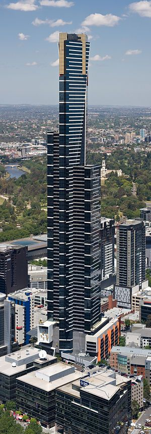 Eureka Tower is a 297.3-metre (975 ft) skyscraper located in Melbourne, Victoria, Australia. Construction began in August 2002 and the building was officially opened on 11 October 2006. The project was designed by Melbourne architectural firm Fender Katsalidis Architects and was built by Grocon. As of May 2013 it is the 12th tallest residential building in the world.    Photo: David Iliff