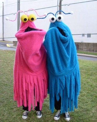 Yip Yips – The bodies are made from Muppet-like fabric. The Yip-Yips' eyeballs are made from Styrofoam and the antennae from pipe cleaners. Inside the costumes are foam hats that make the heads a bit pointy and the lips are foam-filled and attached to a stick, so the wearer can move the mouths with ease.