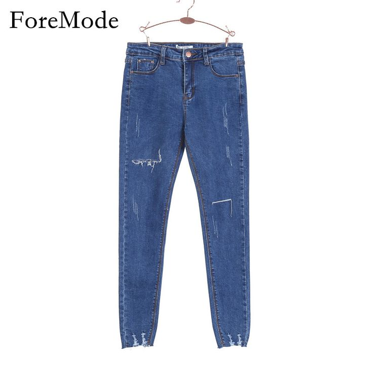 ForeMode High Waist  Skinny Jeans Female Scratch Worn Feet  Vintage Pencil Pants Women Jeans 2XL #>=#>=#>=#>=#> Click on the pin to check out discount price, color, size, shipping, etc. Save and like it!