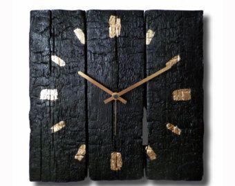 Burned wood clock Wall clock Home decor Original от Inthetime