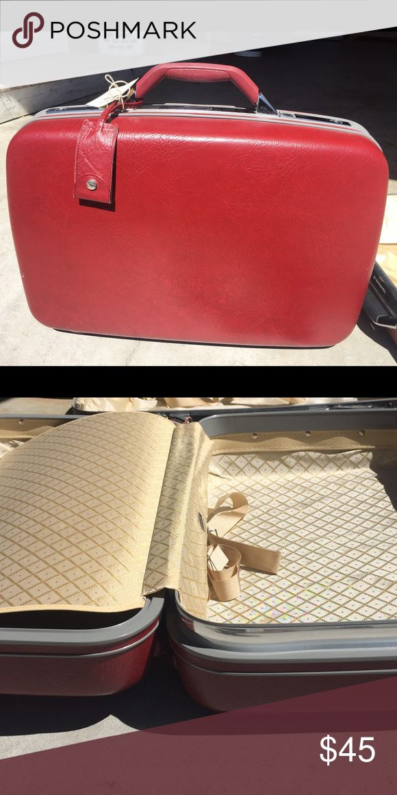 Red Samsonite hard case luggage❤️ Vintage red leather luggage in EXCELLENT condition. Open and you'll see a cream satin interior and perfectly attached belts to keep clothes and items in place! Exterior and interior are beautiful and case comes with a red leather travel tag attached. Perfect for long distance travel, a short road trip, at home storage or as a special keepsake for treasured items ❤️ Bags Travel Bags