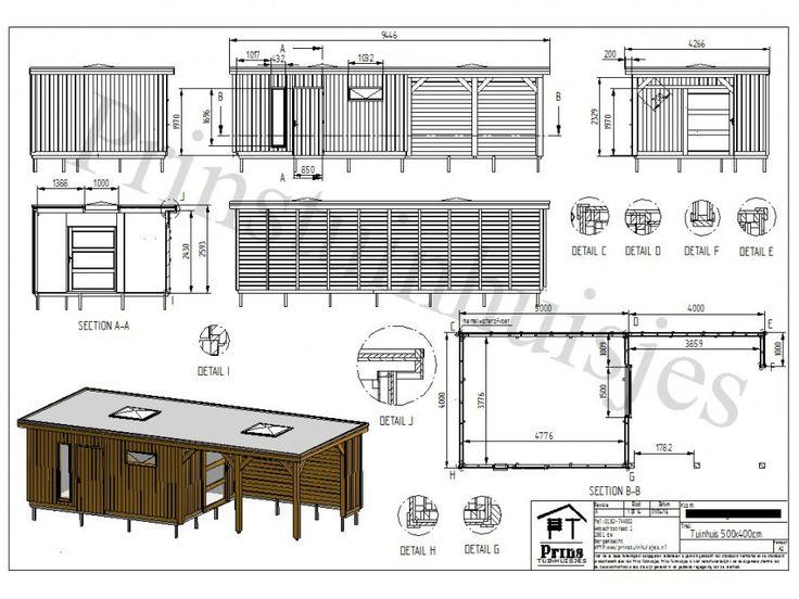 3417 tuinhuis 400 x 500 platdak met luifel 400 x 400 afbeelding 8