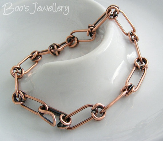 Antiqued solid copper bracelet of entirely hand by BooJewels, £54.00