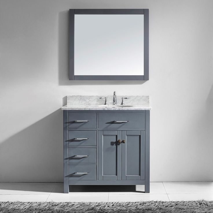 Virtu Usa Caroline Parkway 36 Inch Grey Single Bathroom Vanity Cabinet Set By Virtu Usa Grey