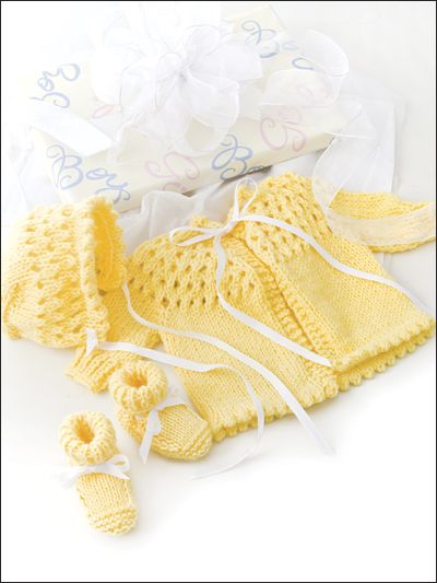 Buttercup Baby Set Knit Pattern Download from e-PatternsCentral.com -- Welcome the newborn with these easy-to-knit beauties.