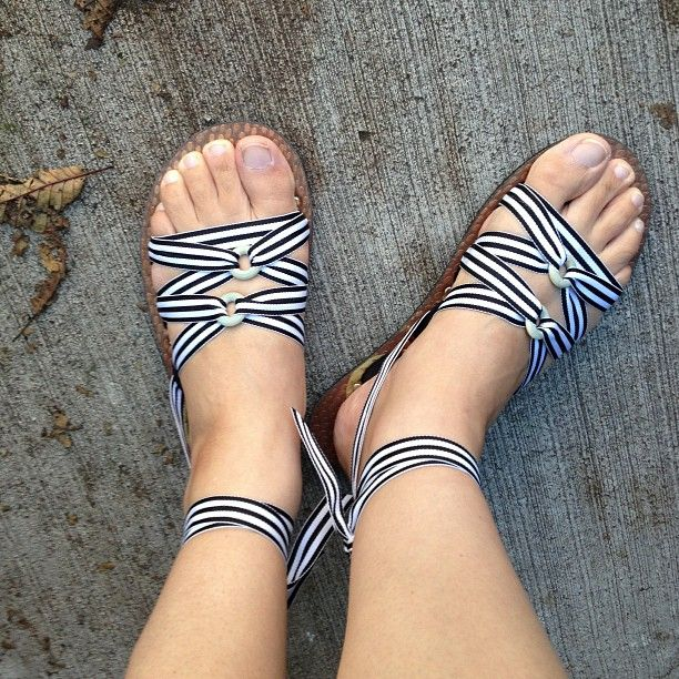 copper flats...√ black and white stripe ribbons...√ Cute...√