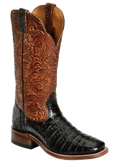 Boulet Black Hand Tooled Caiman Cowgirl Boots - Square Toe available at #Sheplers