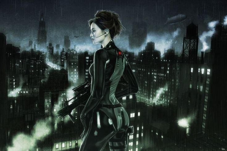 6406 City Rooftops 2d Sci Fi Girl Woman Soldier Cyborg Cyberpunk