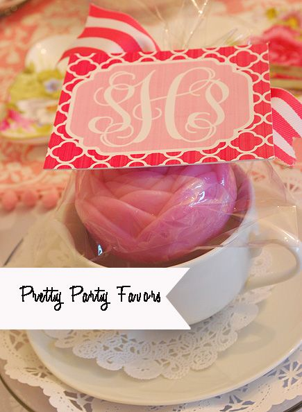 A simple guest soap and a printable custom monogram make an easy, inexpensive personalized favor for a bridal shower or birthday party from 11 Magnolia Lane.