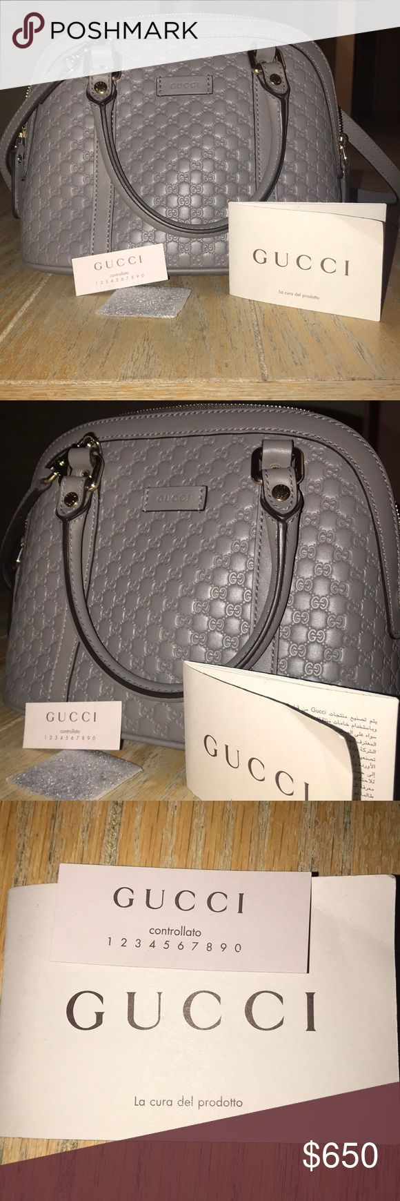 GUCCI Microguccissima Mini Dome Bag color-Grey -Gray  -mini bag  -comes with shoulder strap Gucci Bags Mini Bags