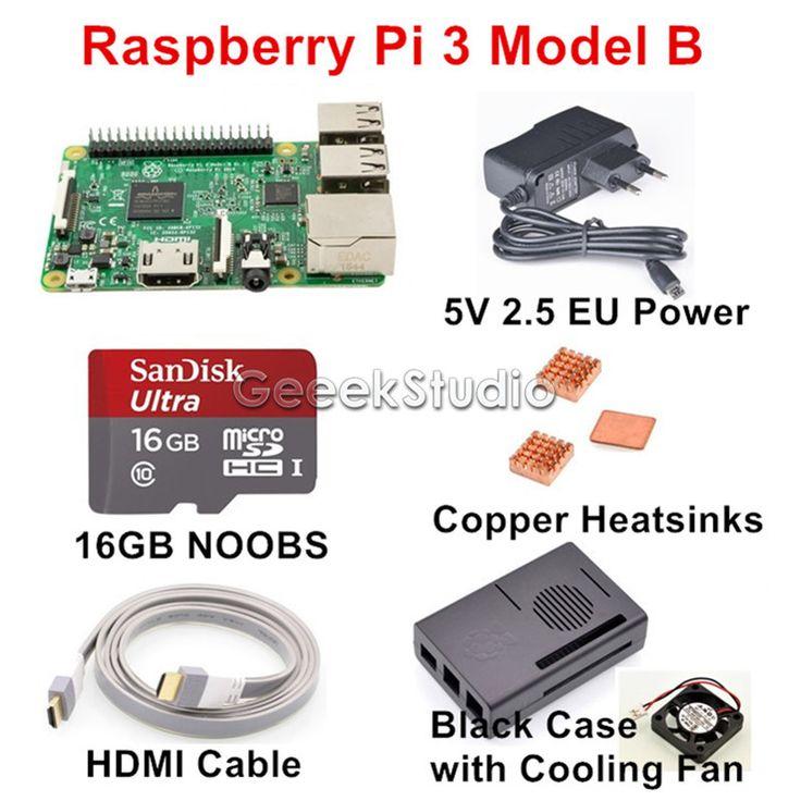 2016 Original Raspberry Pi 3 Model B Starter Kit with 16GB SD NOOBS + 5V 2.5A EUUKAUUS Power Supply + Copper Heatsinks