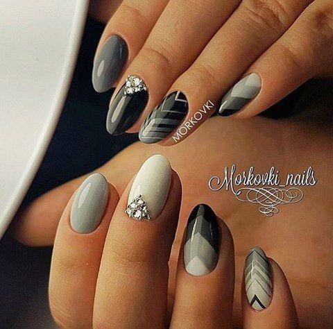 Дизайн ногтей цвет серый