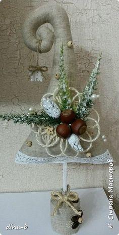Бонсай топиарий ёлка Новый год Шитьё Ёлочка Клей Кофе Мешковина Ткань Шишки Шпагат фото 1