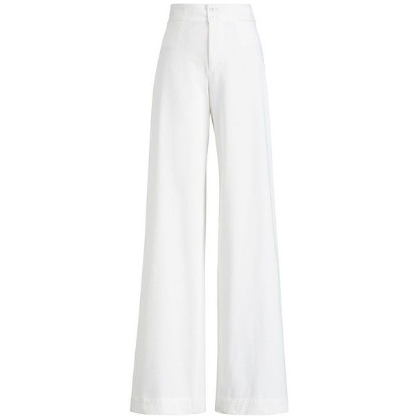 Ralph Lauren Collection Gabrielle WideLeg Pant ($339) ❤ liked on Polyvore featuring pants, red, wide leg, high waisted wide leg trousers, lightweight pants, high-waist trousers, highwaist pants and high waisted trousers