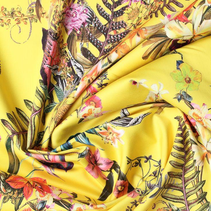 geel stretch satijn katoen met multicolor bloem dessin italiaans import