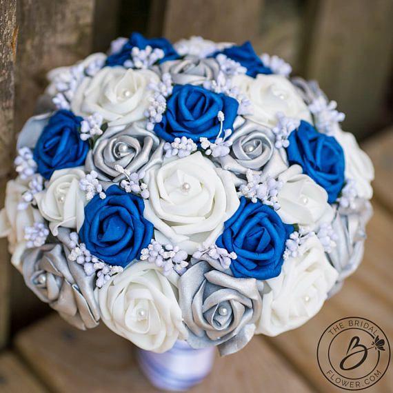 Royal blue wedding bouquet royal blue and silver bouquet