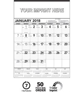 Product: 1C405 Contractor Memo 2018 Calendar, Black & White Basic custom imprint setup & PDF proof included! This 12-sheet business planner is used in most industries. Date blocks contain faintly ruled lines along with symbols denoting Julian dates, the days remaining in the year, work days remaining without Sunday & Saturday and work days remaining without Sunday. December top sheet (13th sheet) included at no additional charge. This calendar includes every sheet imprinting & a durable…