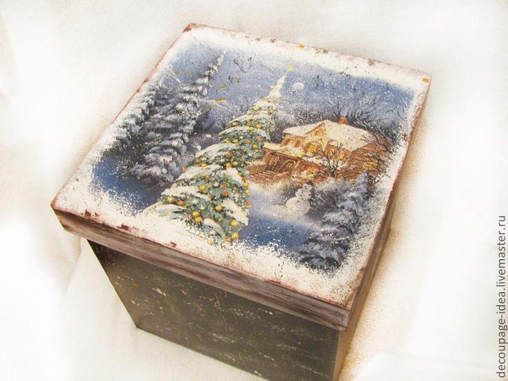 """Корзины, коробы ручной работы. Ярмарка Мастеров - ручная работа Короб для елочных игрушек """"Зима"""". Handmade."""