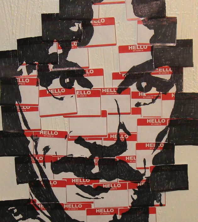 "inigo montoya portrait...made of ""hello, my name is..."" name tags. win. Funny"